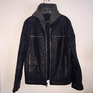 Men's Guess Jacket Faux Leather and Knit Hood